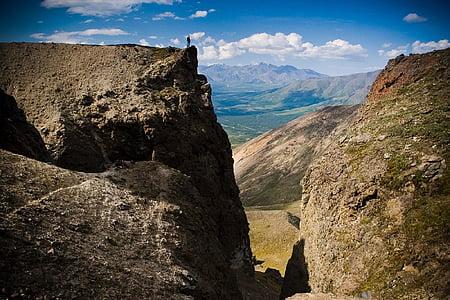 paisatge, escèniques, muntanyes, a l'exterior, paisatge, núvols, home