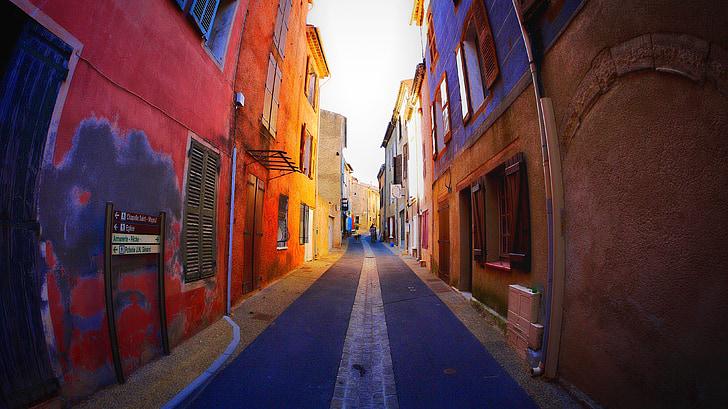 carrer, carril, colors, poble, carrer petit, l'estiu, carrer estret