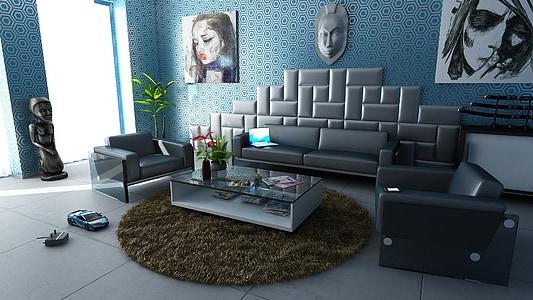 kambarys, Apartamentai, interjero dizainas, apdaila, dizainas, sofos, vidaus kambario