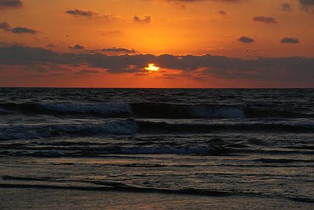 solnedgång, stranden, solen, Twilight, skymning, Dawn, soluppgång