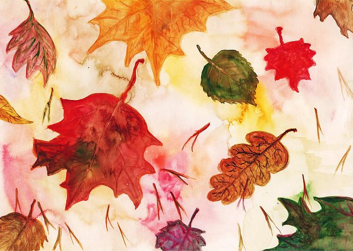 fulla, fulles d'auró, fulla vermella, fulles de tardor, fulles de tardor, fulla de roure, aquarel·la