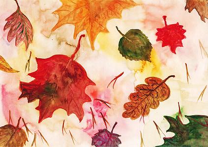 φύλλο, φύλλα σφενδάμου, κόκκινο φύλλο, φθινοπωρινά φύλλα, φθινοπωρινά φύλλα, φύλλο βελανιδιάς, Ακουαρέλα