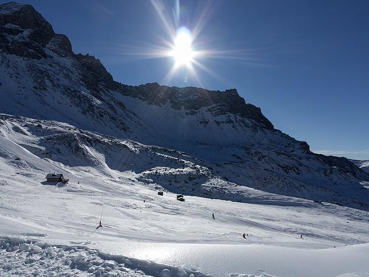 sun, snow, mountain, backlight, landscape, mountaineering, winter