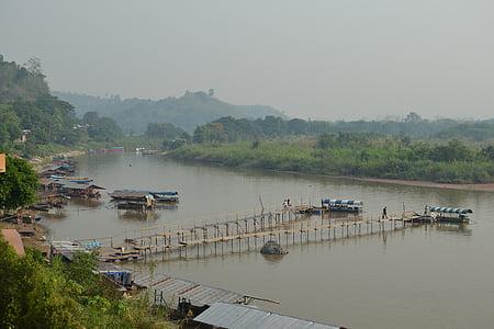 Золотий трикутник, Лаос, човни, Річка, човен, каное, Світанок