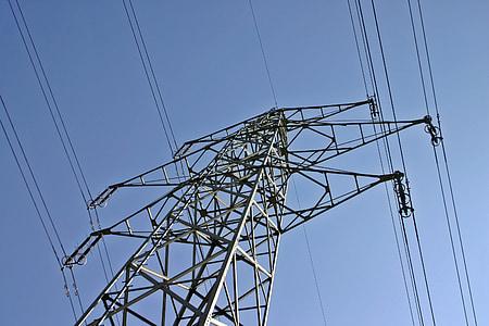 power line, line, current, power poles, electricity, high voltage, energy