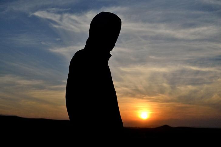 silhouet fotografie, silhouet schieten bij zonsondergang, silhouet portret