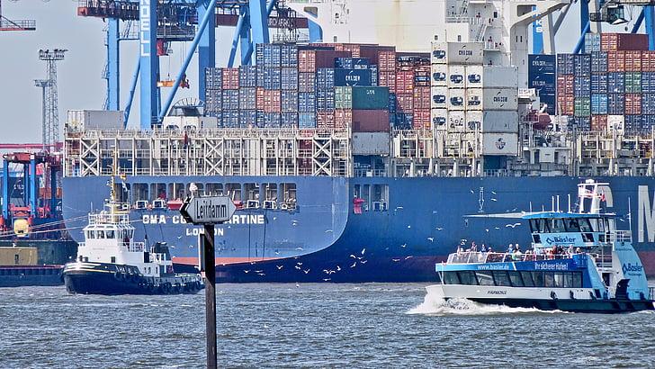 集装箱船, 端口, 汉堡, 易北河, 集装箱, 拔河比赛, 船舶