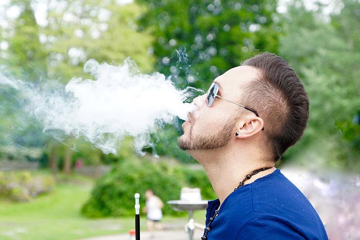 humo, fumar, Shisha, sople hacia fuera, disfrutar de, hombre
