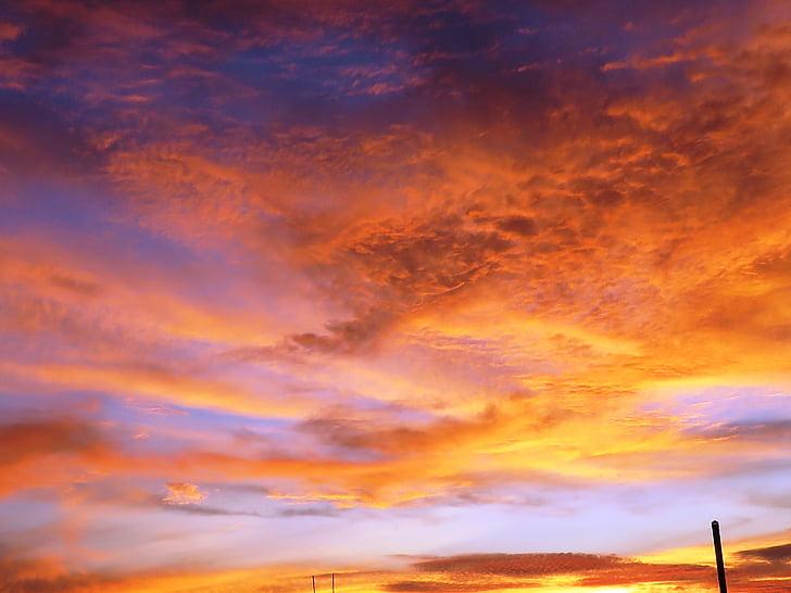 brett sky, solnedgång, kvällen, gyllene moln, naturen, skymning, Cloud - sky