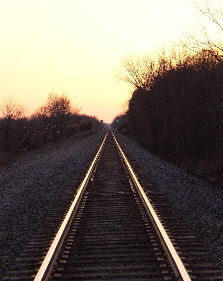 Free Photo Rail Road Tracks Sunset Railway