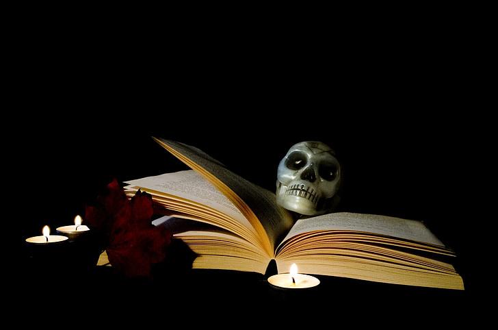 halloween, book, candle, magic, postcard, skull, skeleton