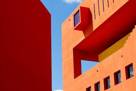 rakennukset, rakenteiden, arkkitehtuuri, oranssi, Sky pilvet, rakentamiseen ulkoa, rakennettu rakenne