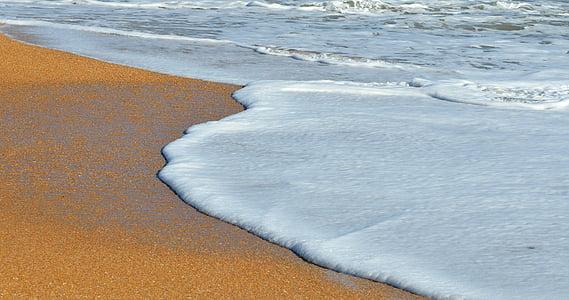 oceà, navegar per, escuma, ones, platja, sorra, l'aigua