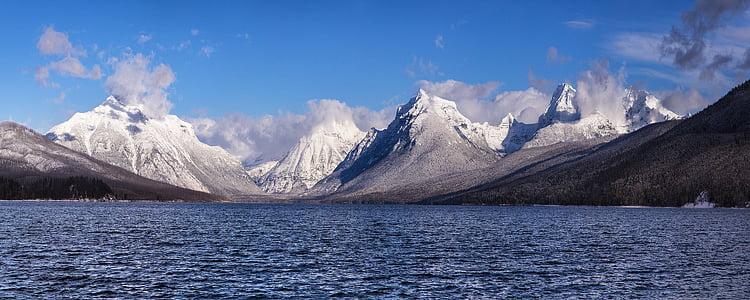 Makdonaldo ežeras, kraštovaizdžio, vaizdingas, vandens, kalnai, Ledyno nacionalinis parkas, Montana