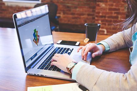 jabolko, oblikovalec, oblikovanje, prenosni računalnik, MacBook pro, zvezek, oseba