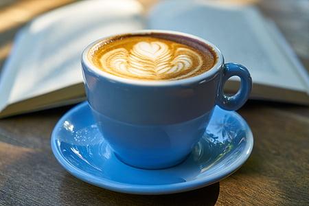 cafè amb llet, cafè, llibre, Nutrició, blau, fusta, Estela