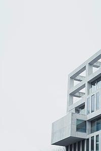 gris, formigó, edifici, blau, cel, diürna, edifici d'arquitectura