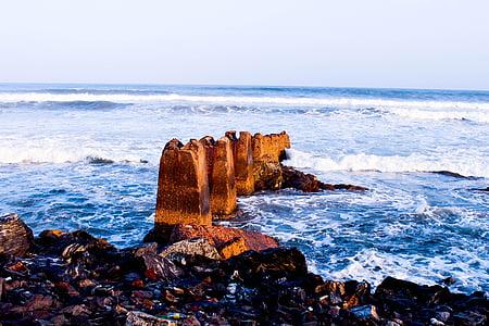 mer, plage, océan, rochers de la mer, horizon, rive, vague
