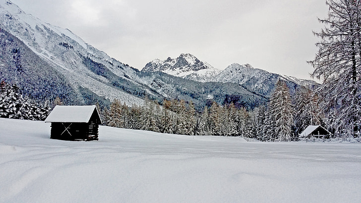 hivernal, neige, montagnes, paysage de neige