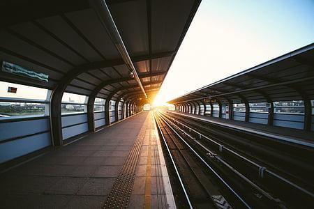 tog, spor, solnedgang, t, reise, transport, spor