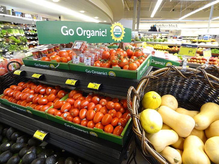 supermarked, frugt, sundhed, tomat