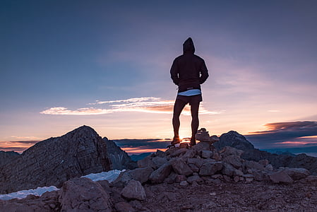 person, hiker, peak, summit, top, adventure, sunrise