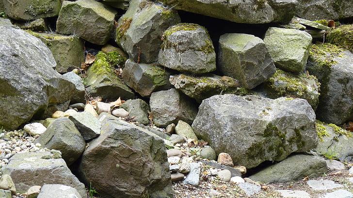 pedres, jardí de pedra, còdols, molsa, fons, Roca - objecte, material de pedra