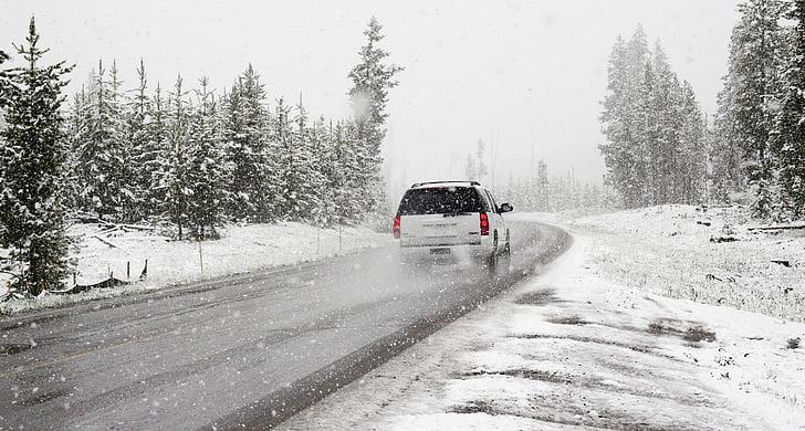 xe hơi, đường, chuyến đi đường, roadtrip, tuyết, bão tuyết, mùa đông