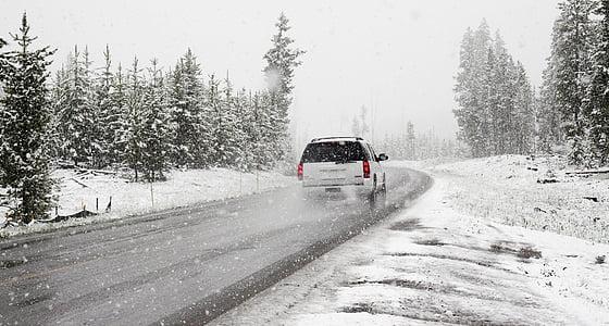 cotxe, carretera, viatge per carretera, Roadtrip, neu, tempesta de neu, l'hivern