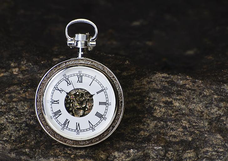 reloj, tiempo, piedra, estudio, reloj de bolsillo, minutos, las manos