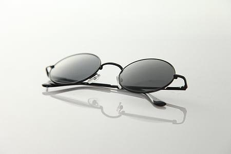 occhiali, vetro, cerchio, trasmittanza della luce, riflessione, grigio scuro, occhiali da vista
