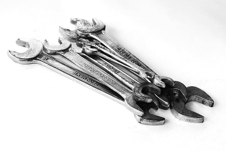tools, set, handyman, hand, white, repairman, background