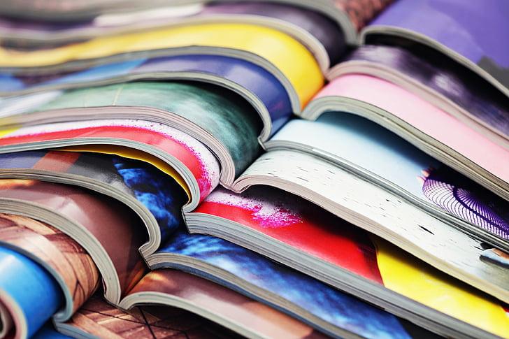 tidningen, färger, Media, Sidan, färgglada, bok, stacken