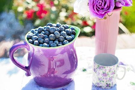 mirtilos, Verão, frutas, fresco, saudável, doce, orgânicos