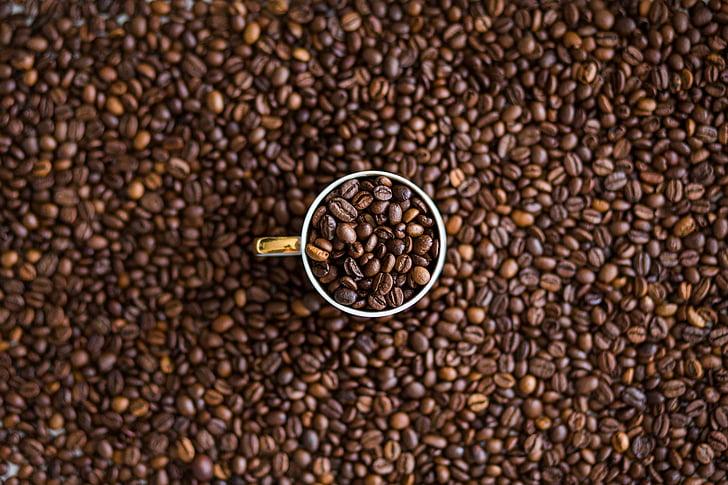 cafè, fesols, vidre, Copa, tassa, textura, gra de cafè torrat