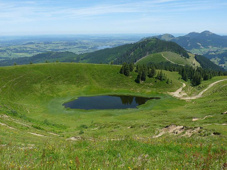 Panorama, bergsee, jazero, Príroda, horskej krajiny, Alpine