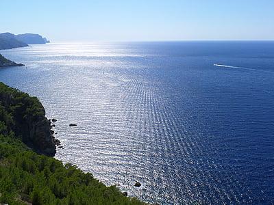 Mar, sol, sol i mar, cel, reflectint, Mediterrània