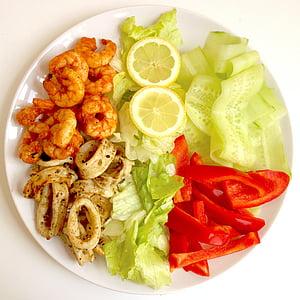 aliments, Amanida, marisc, àpat, Sa, gambes, calamar