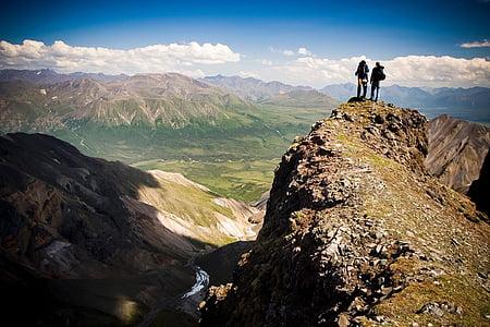 paisatge, escèniques, muntanyes, a l'exterior, paisatge, núvols, excursionistes
