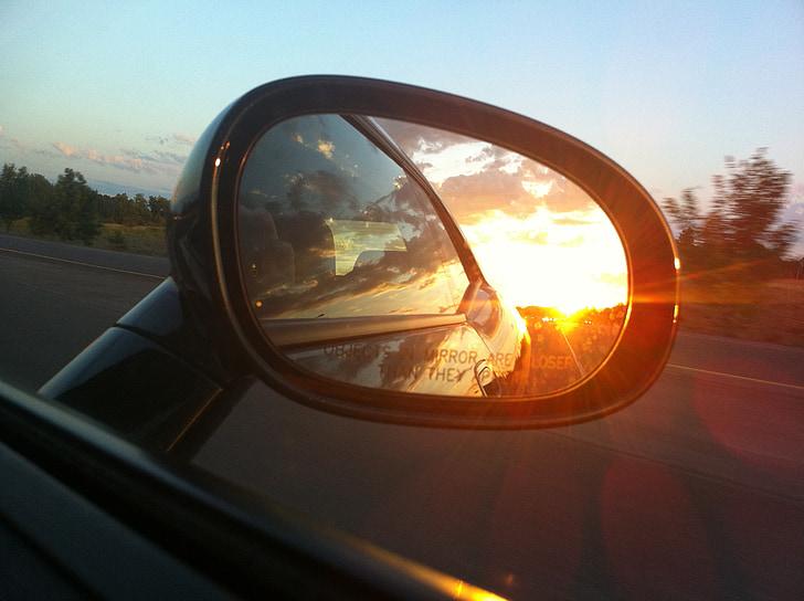 rear-view mirror, mirror, car, automobile