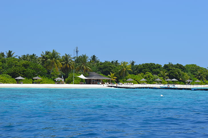 sea, maldives, island, beach, sun, water