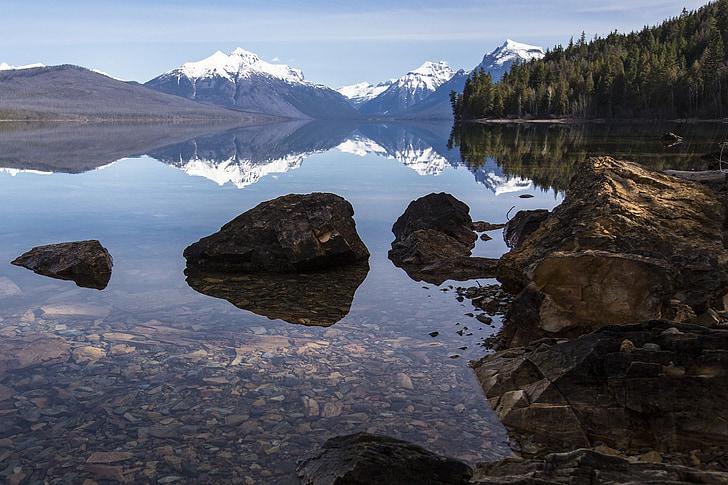 Llac mcdonald, roques, reflexió, paisatge, panoràmica, escèniques, Parc