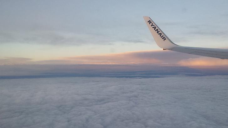 ilma-aluksen, siipi, taivas, lento, pilvet
