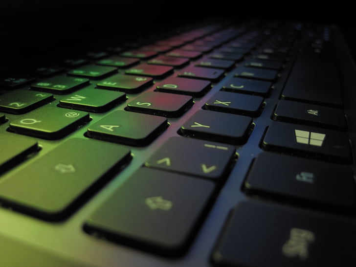 keyboard, colorful, keys, laptop