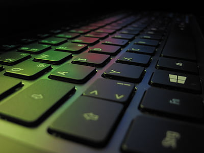 keyboard, colorful, keys, laptop