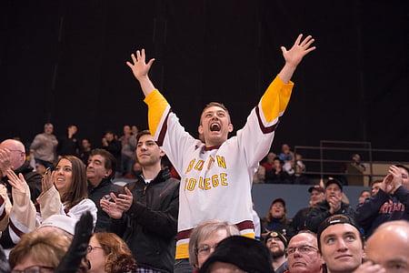 Hockey, idrott, ishockey, fläkt, team, folkmassan, personer