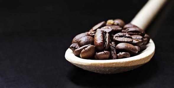 grains de café, cuillère, cuillère en bois, café, plaisir, haricots, caféine