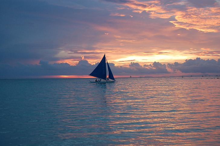 sailing, sunset, philippines, boat, sea, ocean
