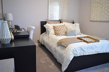 bedroom, bed, desk, house, home, bedding, comfortable