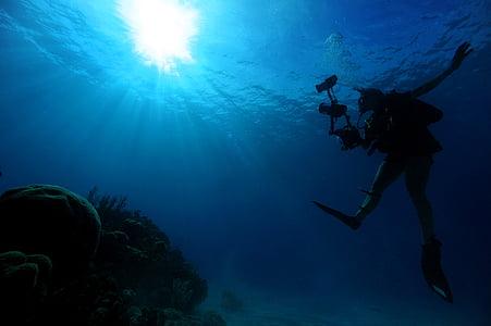 jūra, okeāns, ūdens, zemūdens, gaisma, saules gaismā, zila